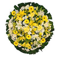 Floricultura - Coroa de Flores Luxo Amarela