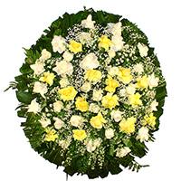 Floricultura - Coroa de Flores Delicada Amarela