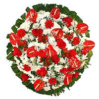 Floricultura - Coroa de Flores Luxo Vermelha
